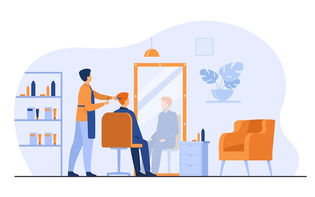 Male hairdressing beauty salon interior isolated flat vector illustration. cartoon stylist or beautician cutting client hair in barbershop. appearance and beauty concept Free Vector