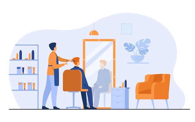 Illustrazione piana di vettore isolata interno del salone di bellezza di parrucchiere maschio. stilista o estetista del fumetto che taglia i capelli del cliente nella bottega del barbiere. aspetto e concetto di bellezza Vettore gratuito
