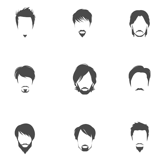 Male Hairstyle Icons Collection Vector Free Download