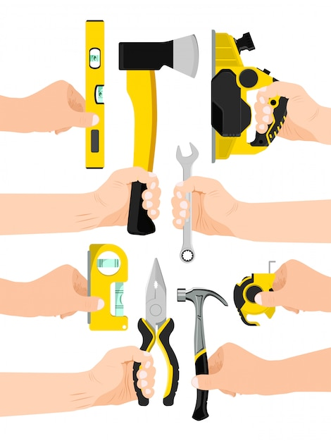Male hand hold working tool isolated on white,   illustration. man arm carry instrument, pliers axe level ruler spanner and jigsaw. Premium Vector