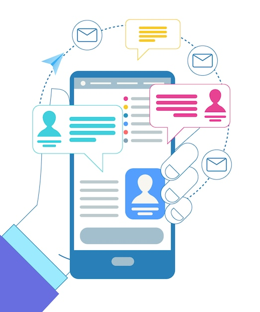 Male hand holding gadget. messages notification Free Vector