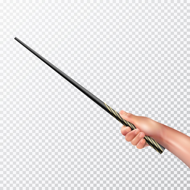 Male hand holding long black magic wand with pattern on transparent background realistic vector illustration Free Vector