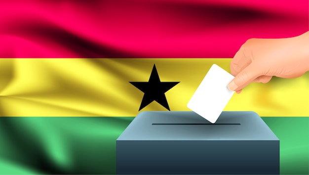 Male hand puts down a white sheet of paper with a mark as a symbol of a ballot paper against the background of the ghana flag. ghana the symbol of elections Premium Vector