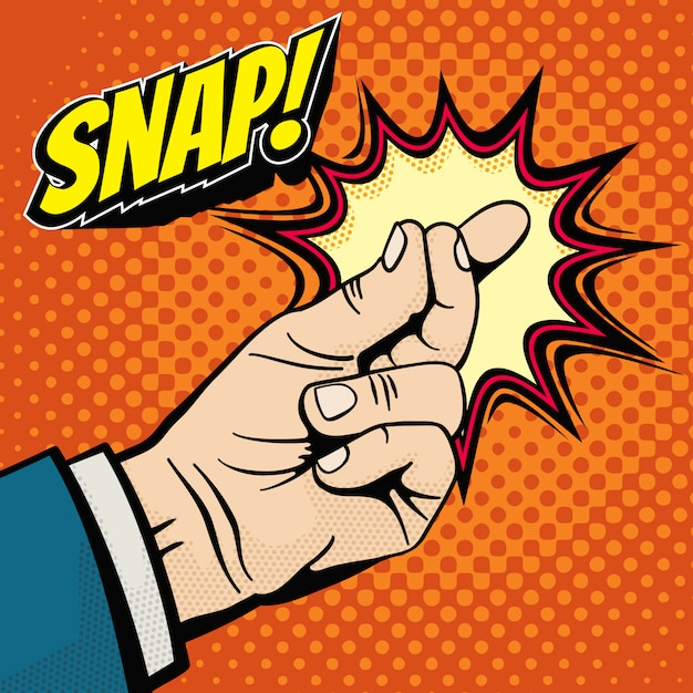 Male hand with snapping finger magic gesture. Premium Vector