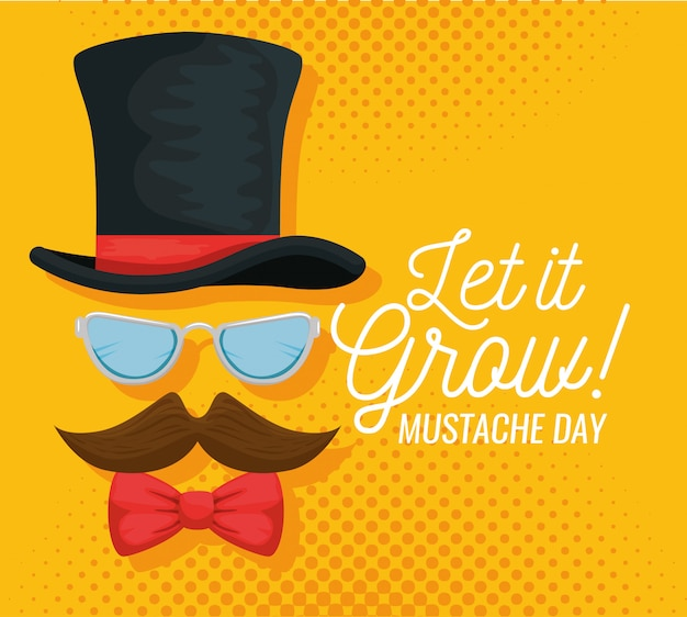 Male hat with glasses and mustache illustration Free Vector