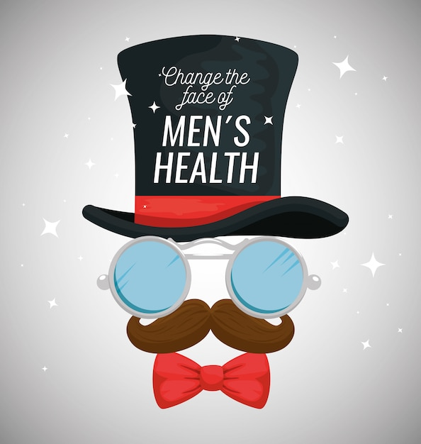 Male hat with glasses and mustache Free Vector