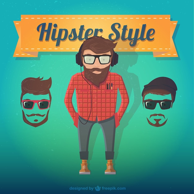 Male hipster style Free Vector