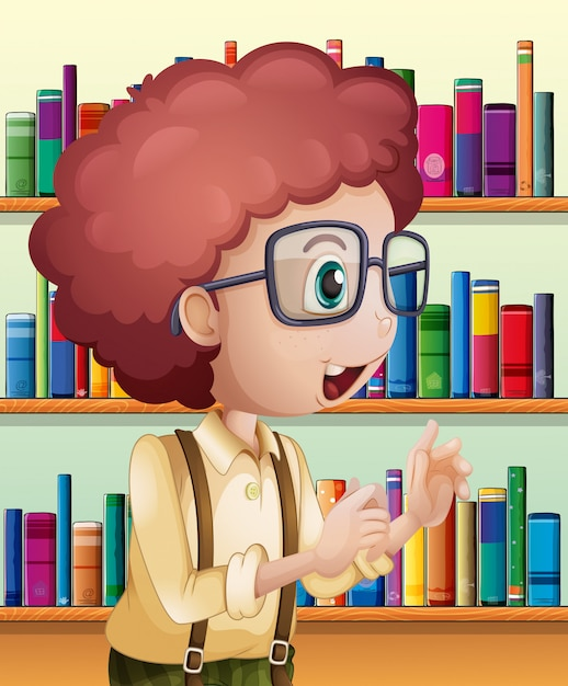 A male librarian inside the library Free Vector