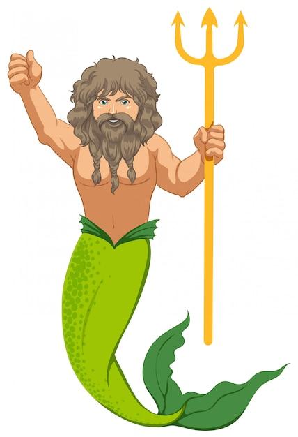 Sirena maschio con il tridente isolato Vettore gratuito