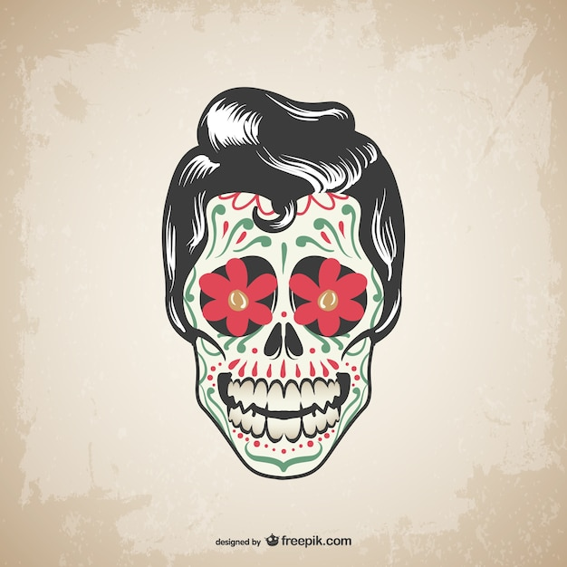 Male mexican skull tattoo Premium Vector