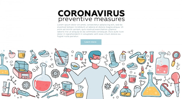 Male microbiologist scientist research coronavirus cov in the laboratory surrounded by virus, scientific medical equipment . awareness campiagn. tempalte for landing page. flat  illustration. Premium Vector