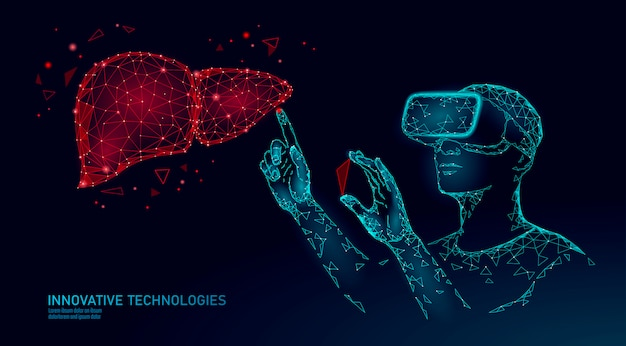 Male modern doctor operate human liver. virtual reality assistance laser operation. 3d vr headset augmented reality glasses medicine online digital Premium Vector