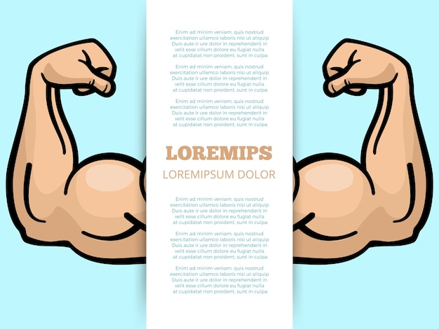 Male muscle arms banner template Premium Vector