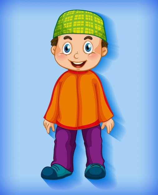 Free Vector Male Muslim Cartoon Character Colour Gradient Background