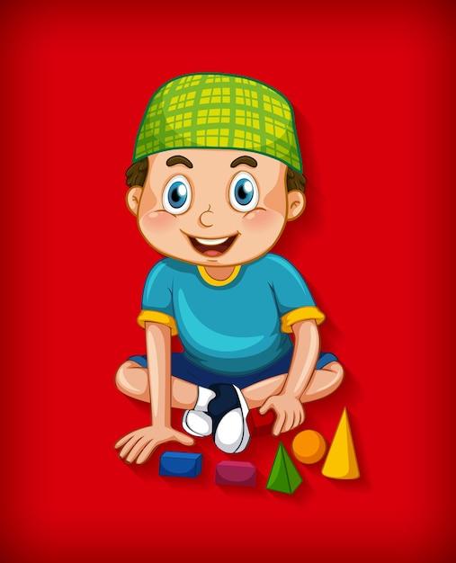 Personaggio dei cartoni animati musulmano maschio su sfondo sfumato di colore Vettore gratuito