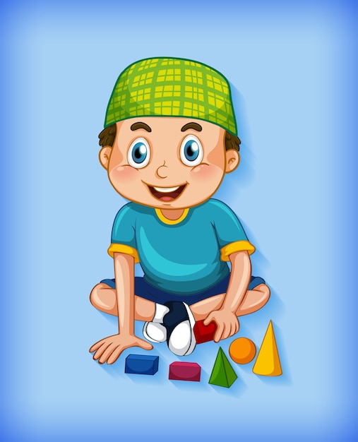 Male muslim cartoon character on colour gradient background Free Vector