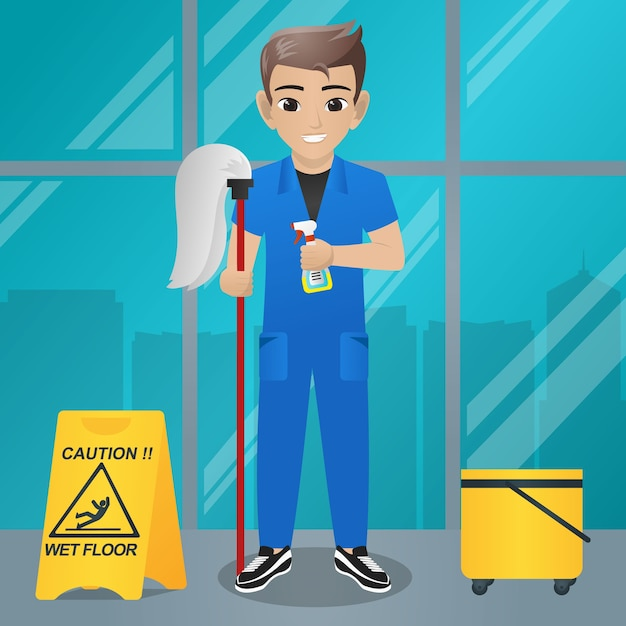 Male Office Boy Holding Mop And Spray Spayer Vector