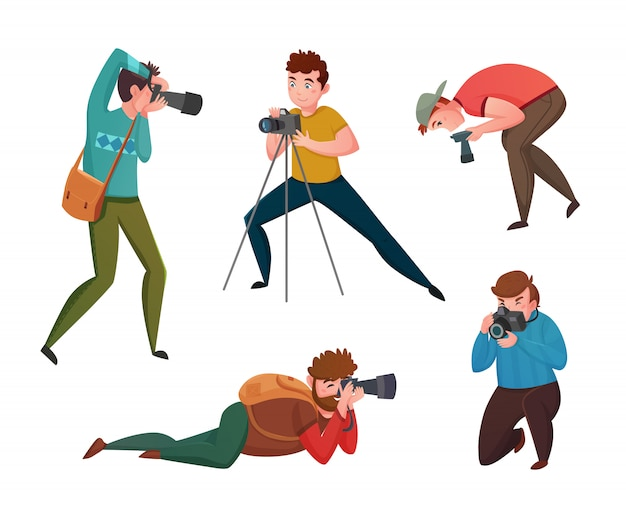 Male photographer in different poses Free Vector