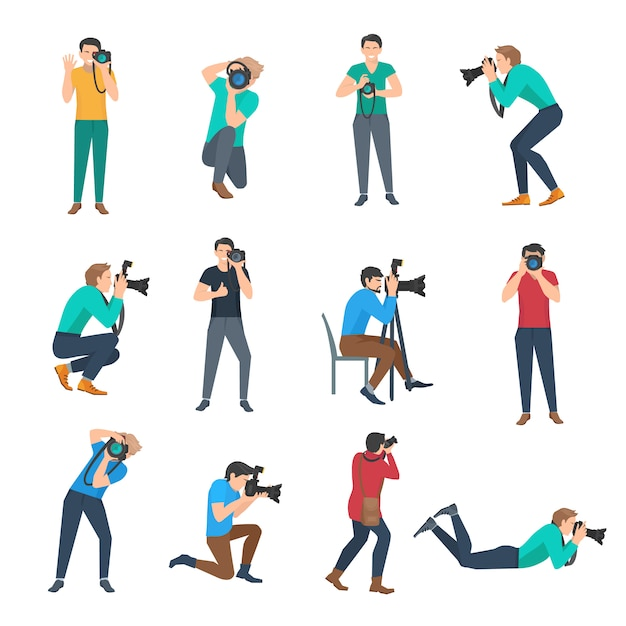 Male photographer set Free Vector