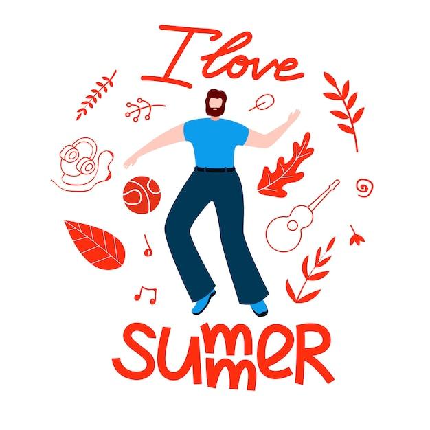 Мужской план на лето, я люблю лето мультфильм квартира. Бесплатные векторы