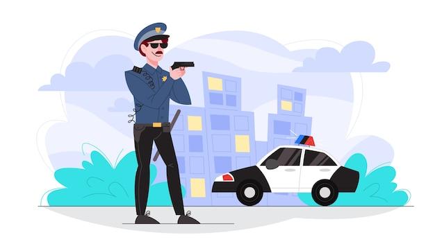 Офицер полиции мужского пола держит пистолет. полицейский патрулирует город. Premium векторы