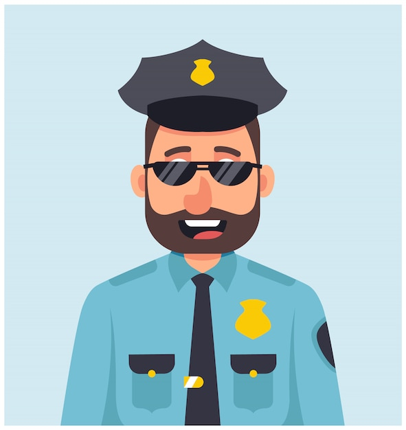 Male policeman with glasses smiling in blue uniform. Premium Vector
