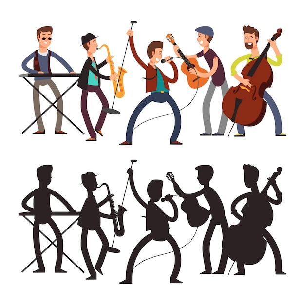 Male pop music band playing music. vector illustration of cartoon character and silhouette Premium Vector