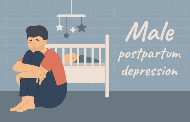 Male postpartum postnatal depression ppd. tired sad man sits near the cradle with a newborn baby Premium Vector