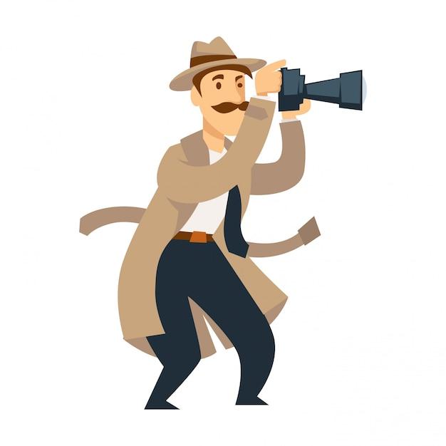 Male private detective with professional camera conducts investigation Premium Vector