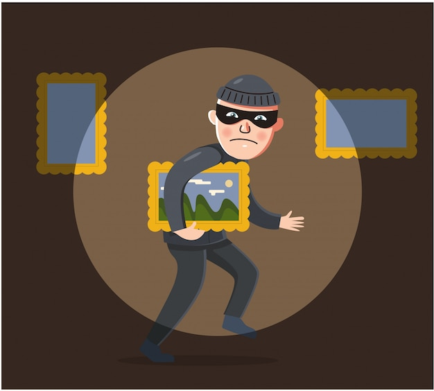 A male robber in a black suit is trying to steal a painting from a museum. Premium Vector