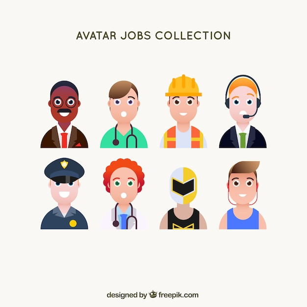 Male set of smiley jobs avatars Free Vector