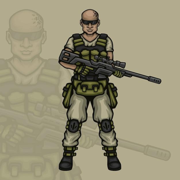 Male sniper gaming character Premium Vector