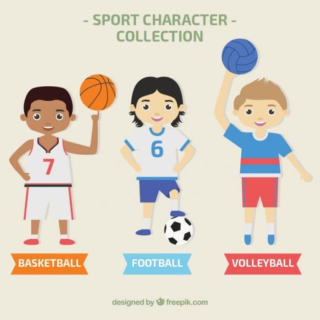 Коллекция символов мужской спорт Бесплатные векторы