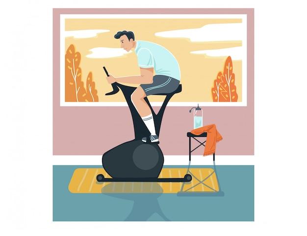 남성 스포츠맨 활동 운동 자전거, 남자 캐릭터 훈련 고정 자전거 흰색, 그림에 집. 프리미엄 벡터
