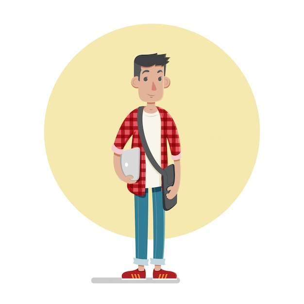 Male student character illustration Premium Vector