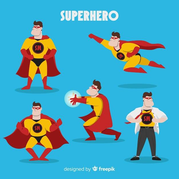 Male superhero collectio Free Vector