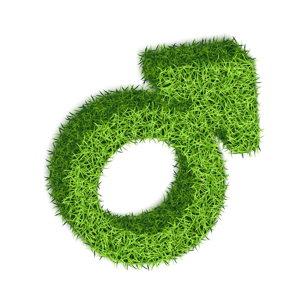 Male symbol of mars with grass texture. Premium Vector