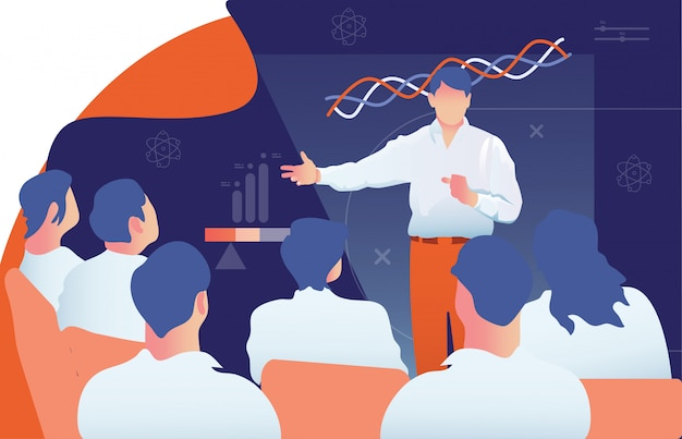 Male teacher is giving a lecturer to the audience Premium Vector