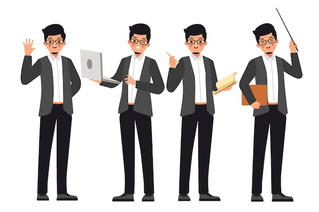 남자 교사는 학생들을 가르 칠 준비가 프리미엄 벡터