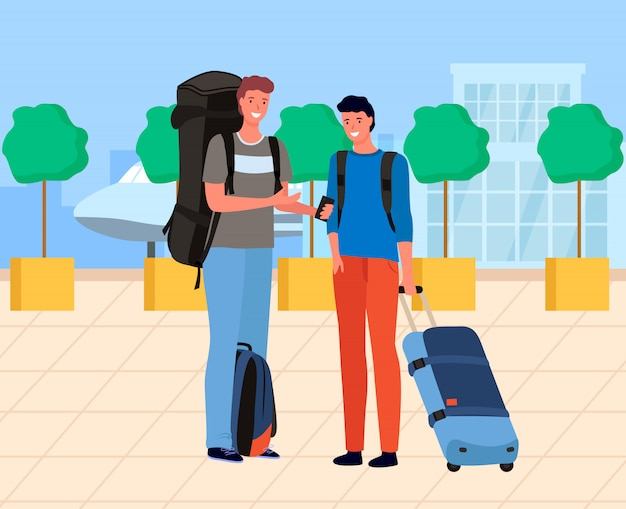 Male tourists waiting near airport with luggage Premium Vector