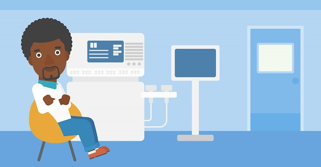 Male ultrasound doctor. Premium Vector