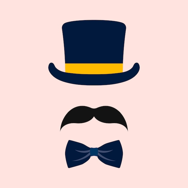 Male wedding photo booth props vector Free Vector