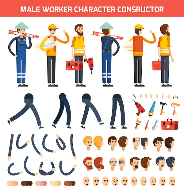 Male worker character constructor composition Free Vector