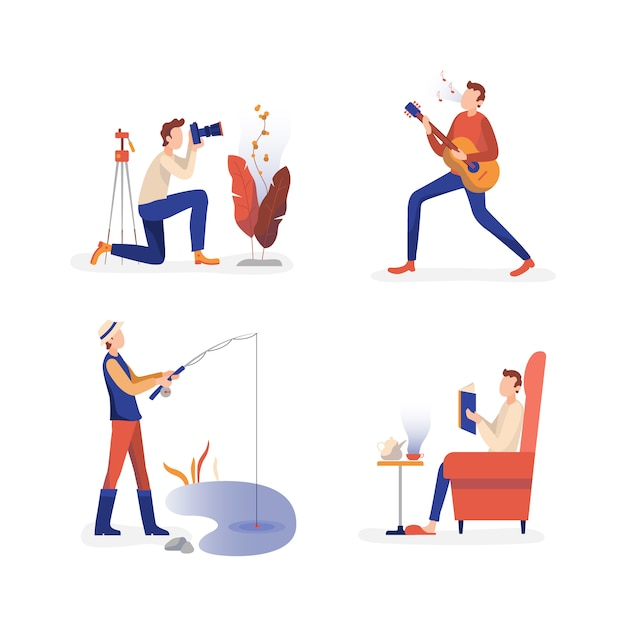 Males enjoying free time activities collection Premium Vector