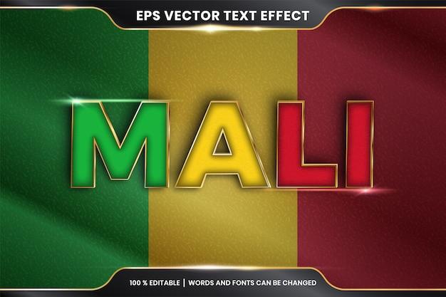 Мали с национальным флагом страны, редактируемый текстовый эффект в стиле золотого цвета Premium векторы