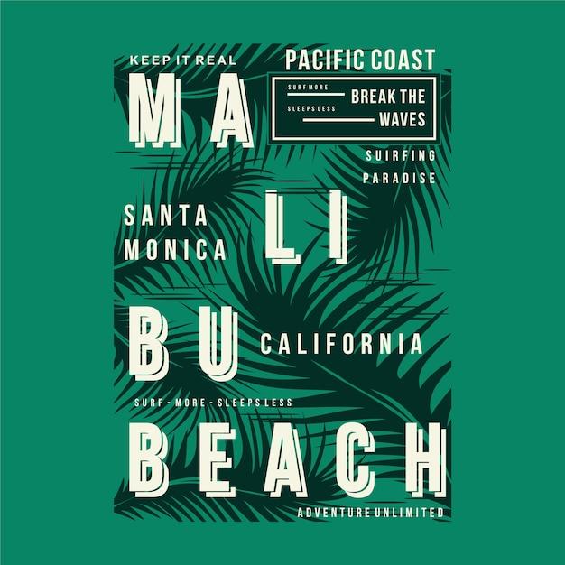 Малибу пляж графический дизайн футболки типография Premium векторы