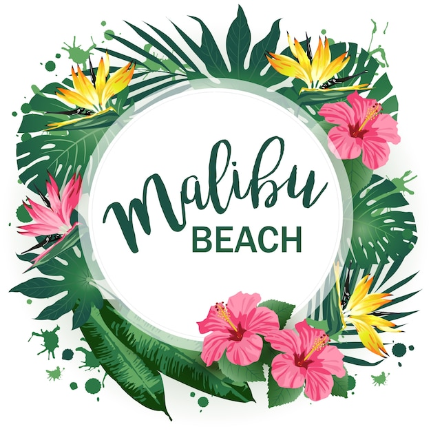 マリブビーチパーティーポスター Premiumベクター