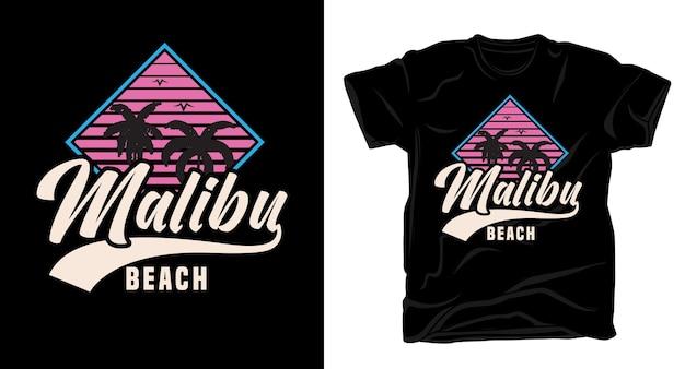 Типографика пляжа малибу для дизайна футболки Premium векторы