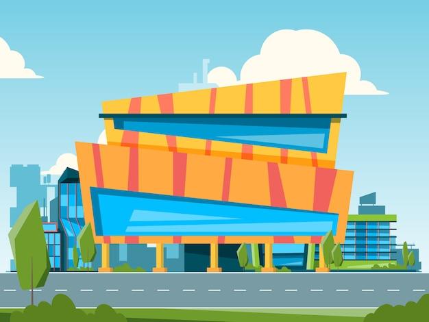 モール。ハイパーマーケットと店舗の建物と都市景観住宅イラスト Premiumベクター