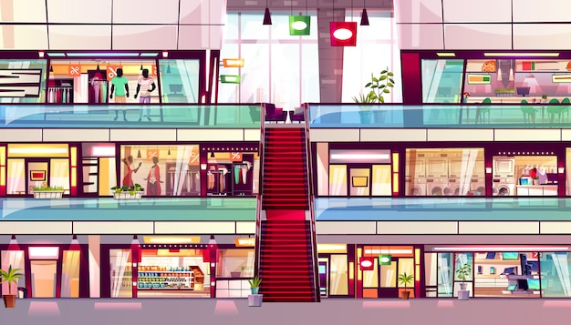 Mall shop illustration of shopping store interior with escalator in middle. Free Vector